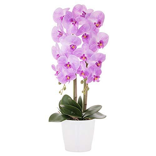 Orquídea artificial en maceta, flores artificiales, orquídeas artificiales (morado)