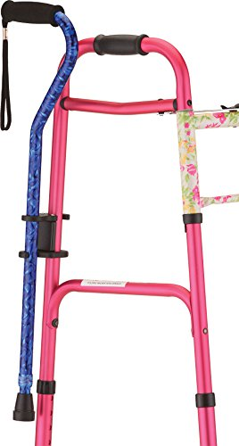 NOVA Cane Holder for Rollator and Folding Walker, Walking Cane Attachment for Walker, Snap-On Design
