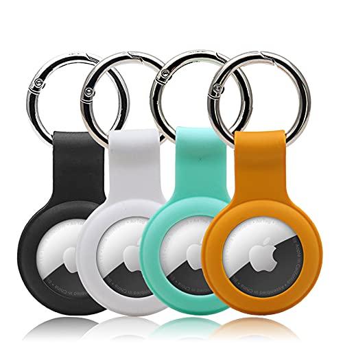 Paquete de 4 fundas para AirTags – Soporte para mascotas – Funda protectora de silicona suave, resistente a los arañazos y ligero (negro y blanco, azul naranja)