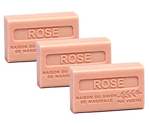 Maison du Savon de Marseille - 3er-Set Provence-Seifen mit Sheabutter - Rose - 3 x 125 g