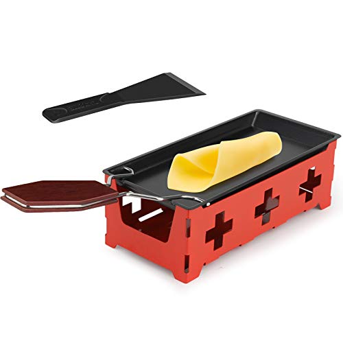 Mini Raclette Antihaft-Käse Raclette Rotaster Ofen mit Silikonspatel zum Schmelzen von Käse, Schokolade(Rot)