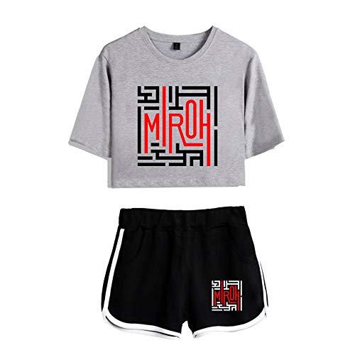 Kpop Stray Kids T-Shirts und Hosen Set Album MIROH Sportswear-Sets für Damen Top & Kurze Höschen Bekleidungssets Sportbekleidung Freizeitkleidung Frauen Kurzarm Blusen T-Shirt