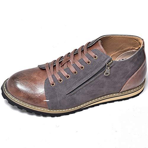 [シュベック] オックスフォードシューズ レースアップシューズ ブーツ ハイカット ミドルカット サイドジップ フェイクスエード コンビ素材 ビンテージ加工 [SPB068-13 ] 45(27.5cm) グレー 灰色