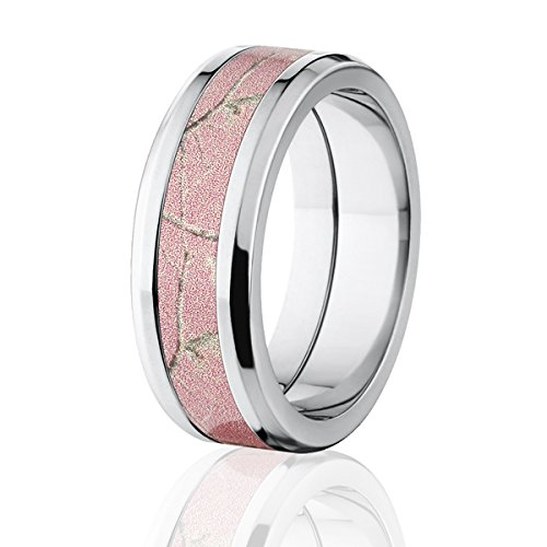 RealTree Pink Camouflage Titanium Rings, Camo Bands, USA Made