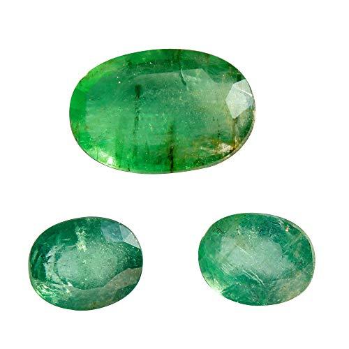 Jaipur Gems Mart 8.95 Quilates Ovale Corte Rico Verde Buen Lustre de Zambia Verde Esmeralda Conjunto 3 Piezas para Hacer la joyería, Pendiente de la Esmeralda, la curación de Piedras Preciosas