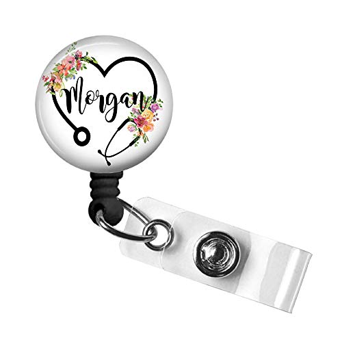 Nurse Retractable Badge Reel, Personalized Name Badge Holder, Custom Floral Steth ID Tag with Swivel Alligator Clip, 34in. Nylon Cord Holds Employee Name Tag, Medical Gift for Doctor, RN, PA, CNA