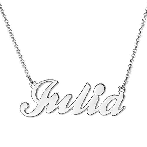 Collana con nome personalizzata, targhetta personalizzabile con nome dell'utente, nome a punta, lettera iniziale, regalo per donne e ragazze e Argento, colore: Colore argento.