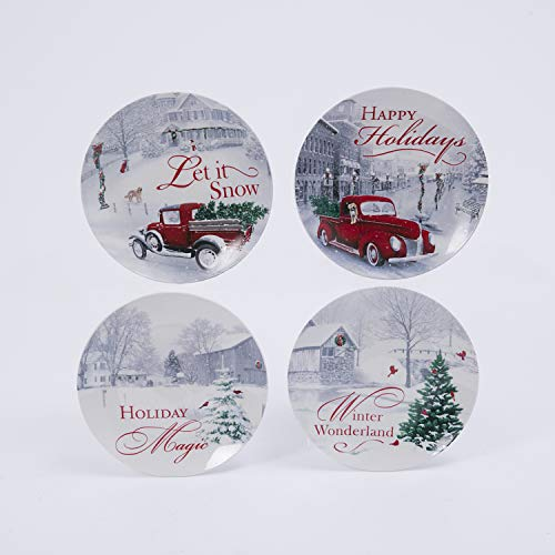 Set of 4 Assorted Ceramic Christmas Holiday Design Plates In Gift Box - 8 Inch