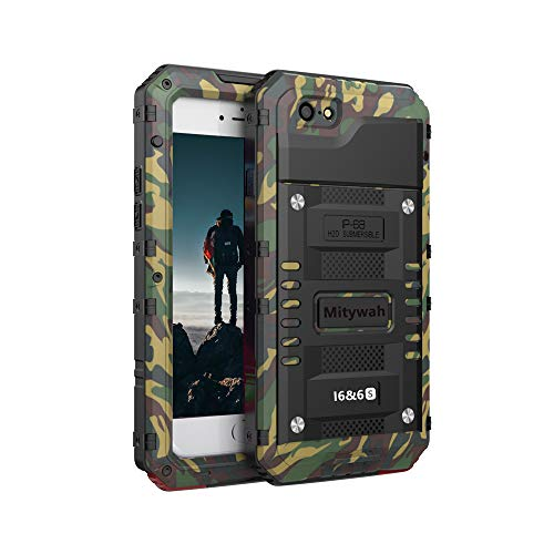 Mitywah Shockproof Case for iPhone 6 6s Waterproof Full Body Protective Cover Built-in Screen Protection, Heavy Duty Armor Military Grade Rugged Aluminum Metal Hard Case for 6 / 6s,Camouflage