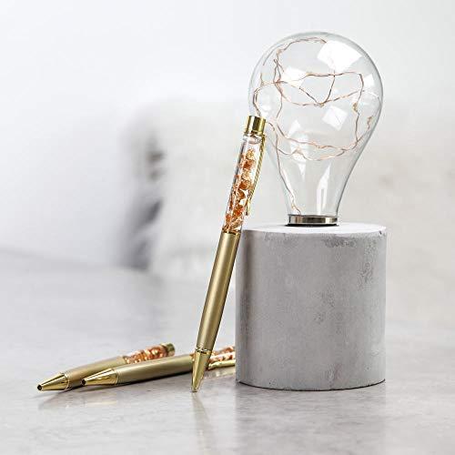 Kugelschreiber Gold Metall mit Glitzer Gold Flakes mit Clip für Terminplaner, Terminkalender, Bücher, Notizbücher zum Schreiben mit Drehverschluss und blauer Mine |lovemynails