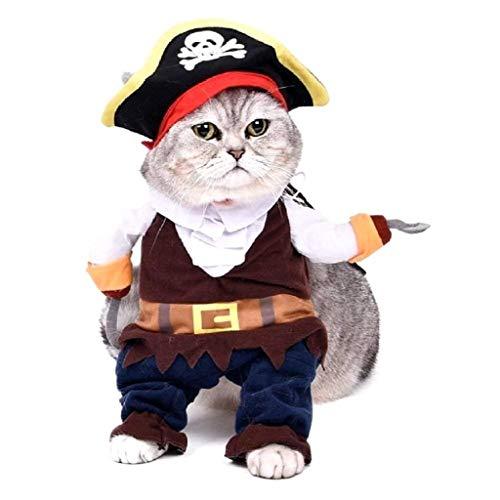 EVRYLON Costume Pirata per Animali Corsaro Nero Gatto XL Travestimento Halloween Cosplay Ottimo Come Regalo per Natale o Compleanno