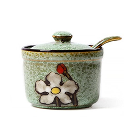 DoDola Ceramics Retro Flower Sugar Bowl with Lid and Spoon 5.5 Ounces Green
