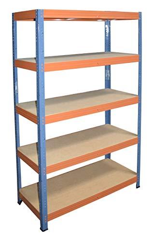 shelfplaza® PRO Estantería azul naranja 200x90x50cm / estanterías fuertes, estantería de 5 baldas, estanterías metálicas almacenaje, estantería de metal insertable, capacidad de carga de 200kg