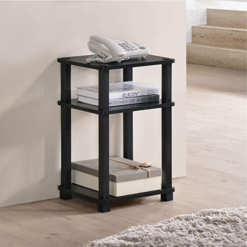 Fortress 3-Tier End Table/Side Table/Telephone Stand (Black/Black)