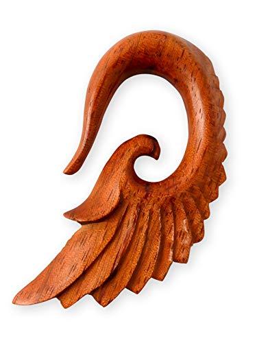 Fly Style Ohr Expander Ohrhänger Engels-Flügel 4-12 mm Holz Knochen Horn, Grösse:4 mm, Farbwahl:braun
