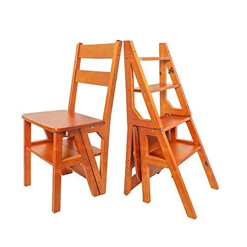 YaGFeng Scala A Pioli Multifunzionale Ispessito Crescente Quattro-Passo Scala di risalita Sedia da Pranzo in Legno Massiccio a duplice Uso Stair Chair Sgabello (Color : Brown, Size : 98x49x9cm)