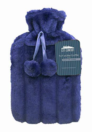 CityComfort Wärmflasche mit Super Soft Luxury Plüschbezug | 2 Liter Wärmflaschen | Britisches Design sicher und langlebig (Tiefblau)