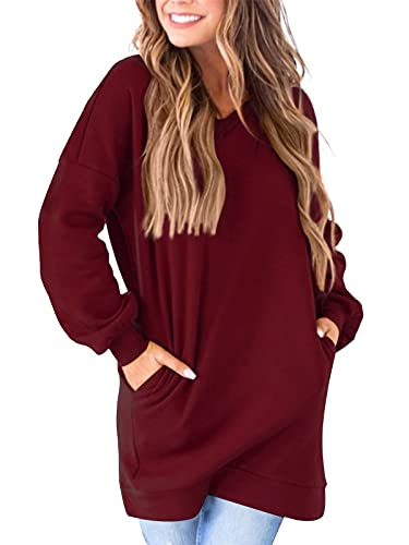 Auxo Mujer Sudadera con Bolsillos Cuello en V Casual Manga Larga túnica Talla Grande Camiseta Larga Color sólido-Vino Tinto S