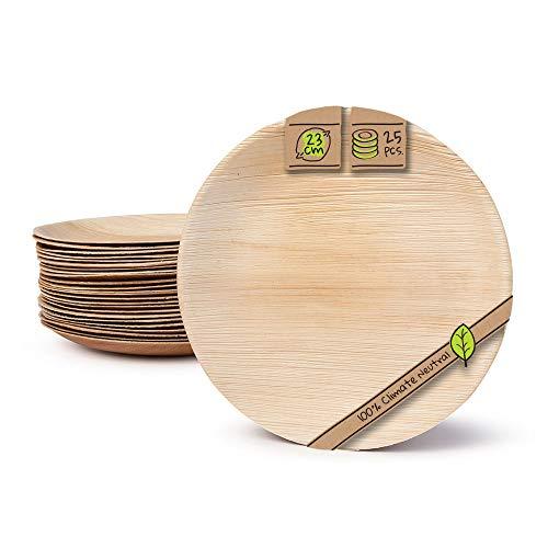 BIOZOYG Haute qualité d'assiette en Feuille de Palmier I 25 pièces d'assiettes Ronds du Feuille Palmier Ø23 cm I Bio jetable Vaisselle pour fête Rapidement décomposable