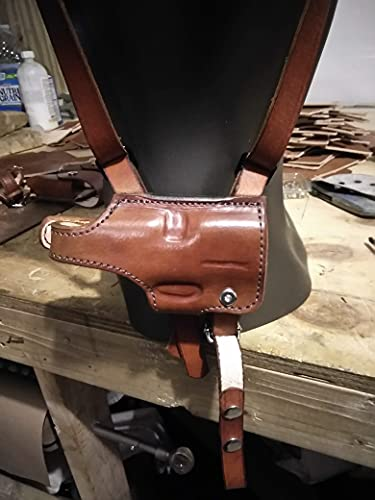 Tactical Shoulder Holster for SIG Sauer p365 with Double Magazine Brown Leather