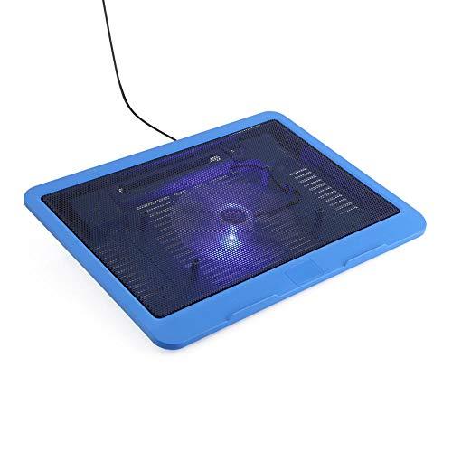 Laptop Cooler Pad Base, Cooling Pad Base Großer Lüfter mit blauen LEDs, USB-Ständer für Notebooks bis 14 Zoll oder darunter/Ergonomischer Ständer(Blau)