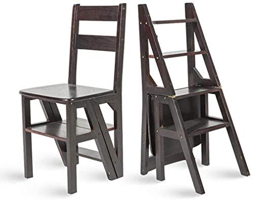 GIOAMH Hushåll multifunktion stegpall massivt trä barn hopfällbar stol dubbel användning 4-stegs stege stigande stege, svart