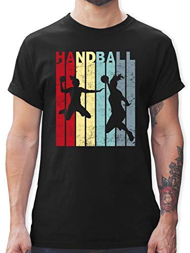 Handball - Handballspielerin Vintage - XL - Schwarz - Fun - L190 - Tshirt Herren und Männer T-Shirts