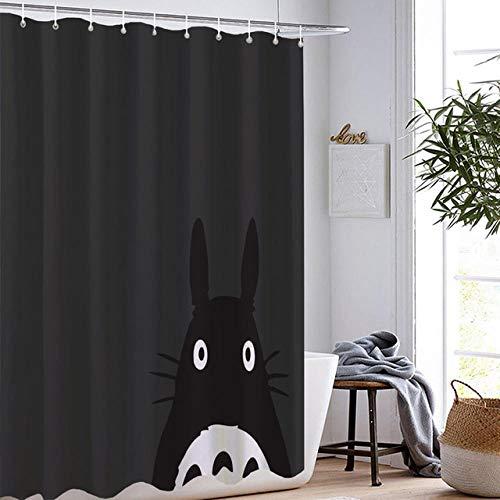DAMCOK Cartoon Anime Film Badezimmer Dekor Cartoon Totoro Duschvorhänge Wasserdicht Polyester Stoff Waschbare Badezimmer Gardinen-B90cmxH180cm