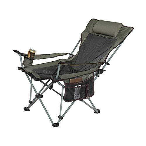 WFH Silla plegable de lujo Sillas reclinables Sillas relajantes Gravedad cero Portátil para adultos Playa Jardín Camping Pesca, Rodamiento 120Kg