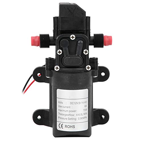 Hililand Membran Wasserpumpe Mini 2-Wege-Gewinde Rechtsauslass 6,0 l/min 0,9 mPA G1/2 in 72 W 12 V mit Druckschalter