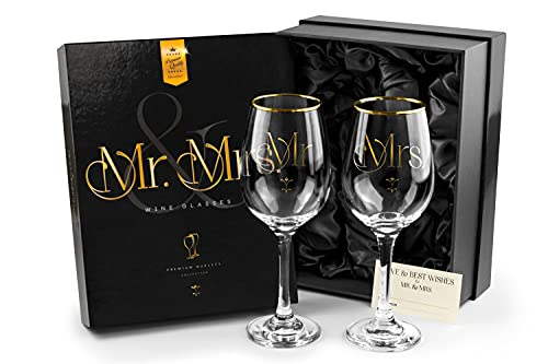 Luxury Mr and Mrs Wine Glass Set for Couple | Unique Wedding Gift Idea for...