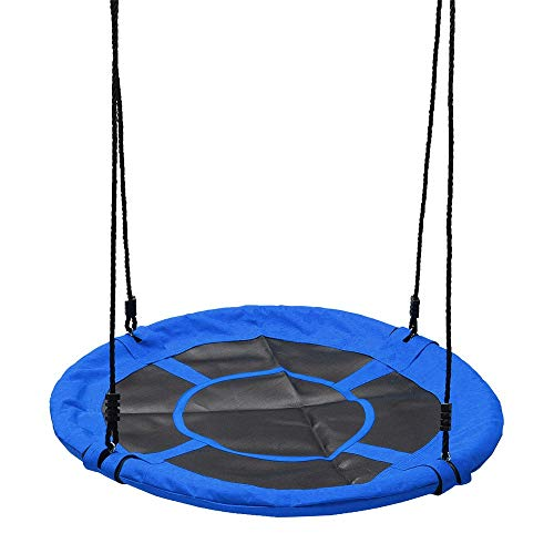 LINPAN Hammocks Children Kids Large Seat Round Tree Swing Hammock Chair Indoor Outdoor Yard Garden Perfect for Camping Outdoors or Gardens (Color : Blue, Size : 40inch)