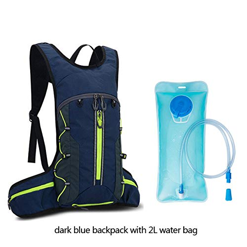 Waterproof Camping Bladder Backpack, Foldable Mountaineering Backpack For Men, MTB Cycling Backpack,Dblue with Water Bag