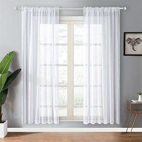 Topfinel 2 Panneaux Rideau Passant Tringle 140x220cm Voilage Blanc Transparent en Effet Lin Décoration d'intérieur de Fenêtre de Salon Chambre Cuisine et Sam