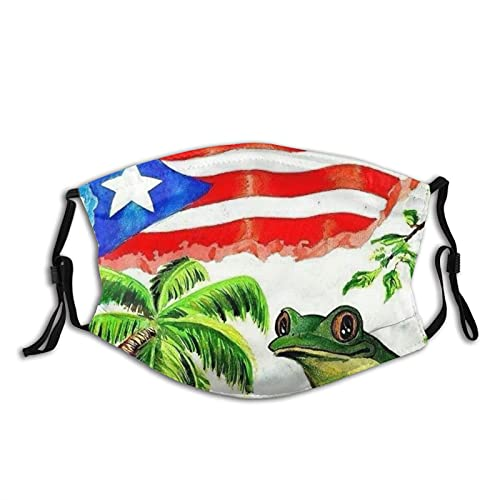 Vintage Puerto Rico Flag 1pack Adjustable Face Masks with 2 Filters ,Unisex Outdoor Face Cover, Reusable Anti Dust Face Cover Washable Dust Mask Black