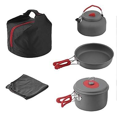 Buwico Camping Cookware Outdoor Hiking Cooking Picnic Pan Pot Dishcloth Set (5pcs set)