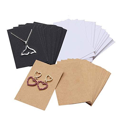 Tarjetas de Exhibición de Collar, 150 Piezas Tarjetas de Papel de Exhibición de Pendiente, Tarjetas de Exhibición de Joyería, Tarjetas de Papel de Pulseras, Etiquetas de Papel Kraft en Blanco