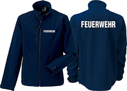 feuer1 Softshelljacke(medium) Navy, Feuerwehr in weiß