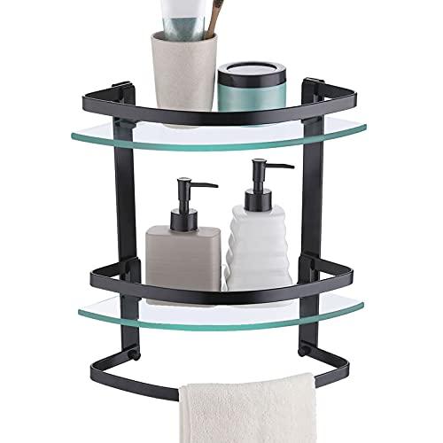 KES Estanteria Baño Estante Baño Cristal 8MM Grueso Vidrio Templado Estantes para Ducha Negro Estanteria Pared 2 Niveles con Toallero Aluminio Anodizado Negro, A4129B-BK