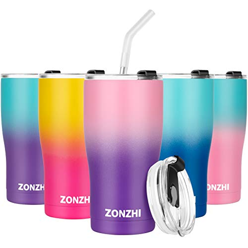 ZONZHI Thermobecher- 600ML Edelstahl Kaffeebecher to go- Auslaufsicher- Wiederverwandbarer Thermobecher mit BPA Frei Deckeln für heißen und kalten Kaffee, Tee usw,Pink Lila