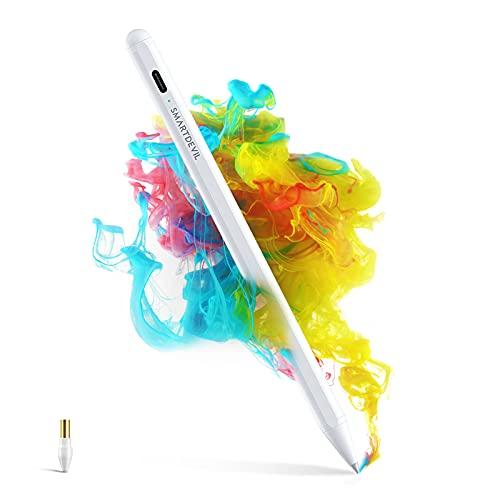 SmartDevil Penna per iPad, Palm Rejection, Per iPad Pro 2018-2021(11/12,9 in), iPad 6a-8a Gen(9,7/10,2 in), iPad Air 3a-4a Gen, iPad Mini 5, Aggancio magnetico, Punta da 1,5 mm, Spegnimento Automatico
