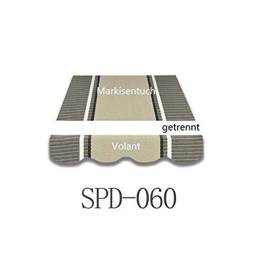 Vana deutschland GmbH Markisen-Stoff Markisenbespannung Ersatzstoff mit Volant 3,5m / 4m / 5m NEU SPD060 (3,5x3m)