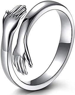 Hassan 925 Sterling Silver Hug Rings for Women Men, Hugging Hands Open Ring Wedding Bands Boy Girl Stacking Ring Xmas Birt...