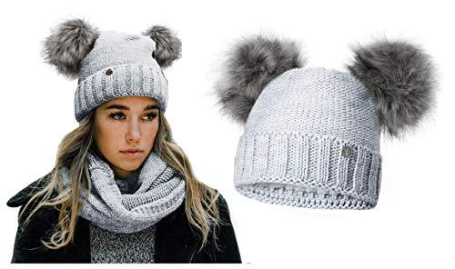 HEYO Damen Wintermütze mit Fleece Innenband Slouch Beanie Winter Mütze | Warme Strickmütze mit Zwei Bommeln | Bommelmütze mit Katzenohren (Blau)