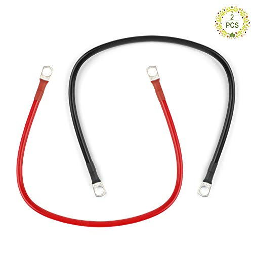 Haisheng 2PCS Cable de Coche de Batería Cable de Batería Cable Bateria Moto Cable Encendido Bateria Cables Inversores Cable Aislado Bateria 16mm²con Terminales para Moto Coche Barcos (Rojo y Negro)