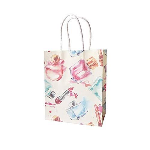 Piore 100st veel cosmetische patroon afdrukken papieren zakken met handvat geschenkzakken Gunst bruiloft verpakking opbergzakken, parfum