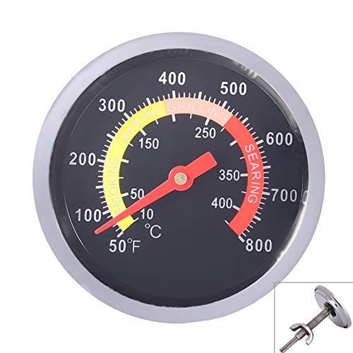 Qiorange Edelstahl Grillthermometer bis 400°C/800°F, Thermometer für alle Holzkohlegrill, Grills, Ofen, Smoker, Räucherofen und Grillwagen, analog, Grillzubehör(Typ F Schwarz 800°F)