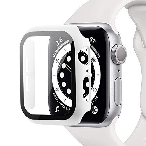 Miimall Compatible con Apple Watch Series 6/SE/5/4 44mm funda con protector de pantalla, ultrafina, protección completa, resistente a los arañazos, carcasa para iWatch de 44mm, color blanco