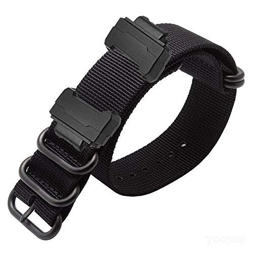 YOOSIDE Armband für Casio G-Shock, NATO Gewebtes Nylon Uhrenarmbänder mit Edelstahlschnalle Ersatzarmband für Casio G-Shock GW-DW5600/DW-6900,GW-M5610/GW-5000 5035 (Schwarz)