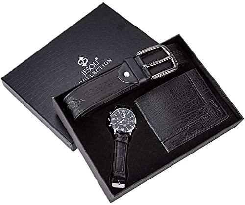 NOBUNO 3 teilesatz Herrenuhr Set Künstliche Leder Quarz Analog Armbanduhr Gürtel Brieftasche Set mit Box Geschenke für Männer,1